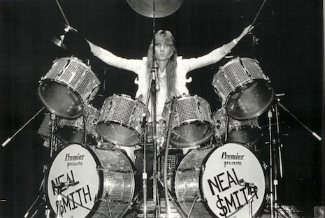Neal Smith's mirrored drum kit used during the