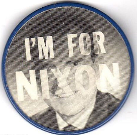 Nixon campaign flicker/flasher pin, late 1960s