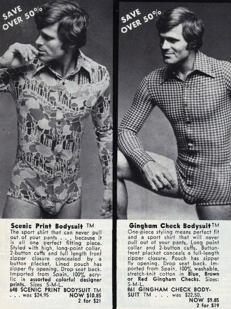 Fantasical one-piece bodysuits for men from the '70s