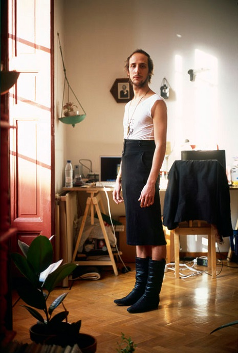 man in pencil skirt
