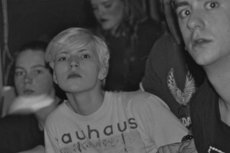 Fans waiting for the Alien Sex Fiend show at Axiom, late 80s
