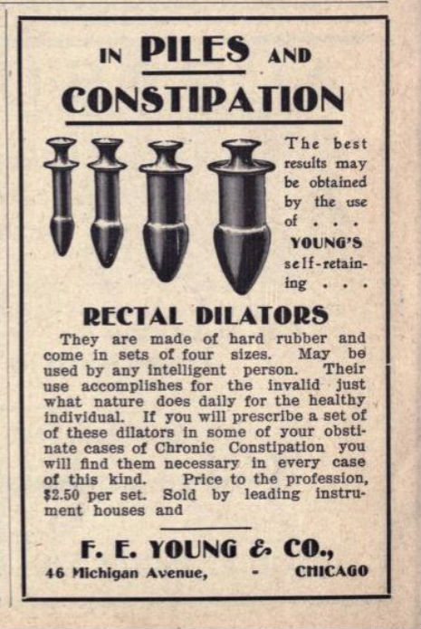 Apparently rectal dilators were a 'thing' in the 1920s