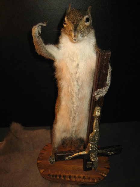 Satanic squirrel taxidermy