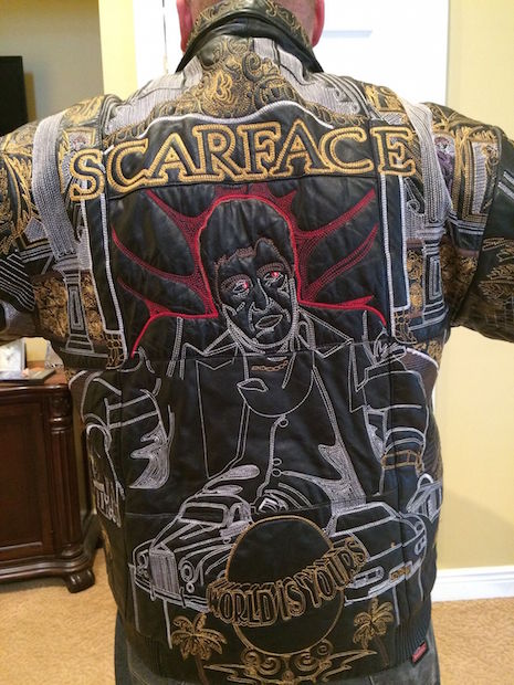 Scarface vintage embroidered leather jacket