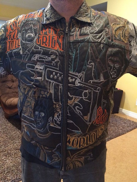 Scarface vintage embroidered leather jacket (front view)