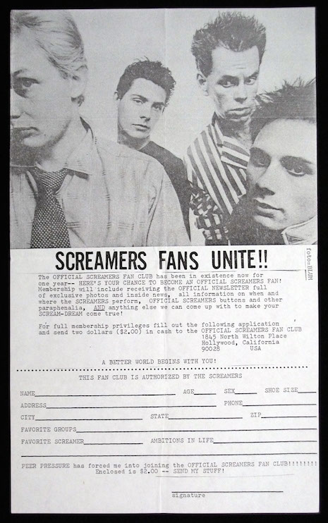 Screamers fan club application