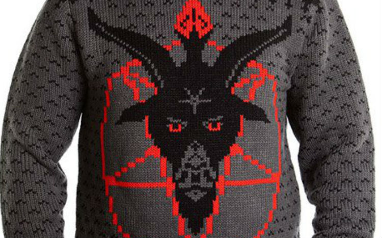 Satanic Christmas sweaters let you flip the bird (or the goat horns) at the holidays