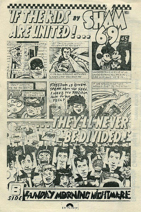 Comic style ad for Sham 69's 'If the Kids are United'