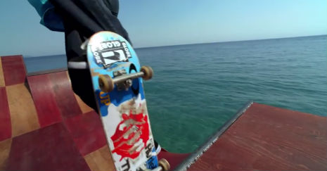Floating skate ramp on the crystal blue waters of Lake Tahoe