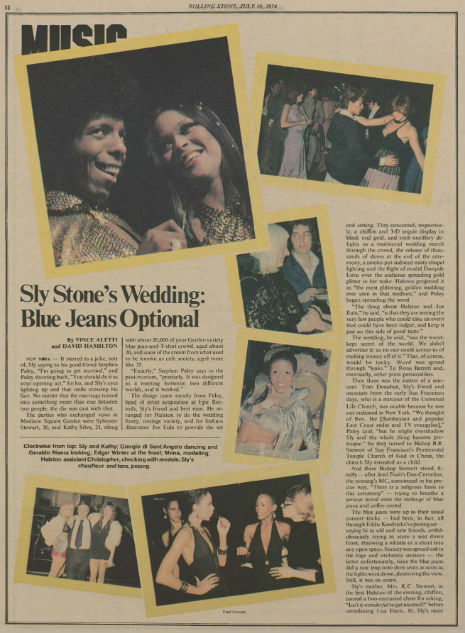 Sly Stone wedding, Rolling Stone