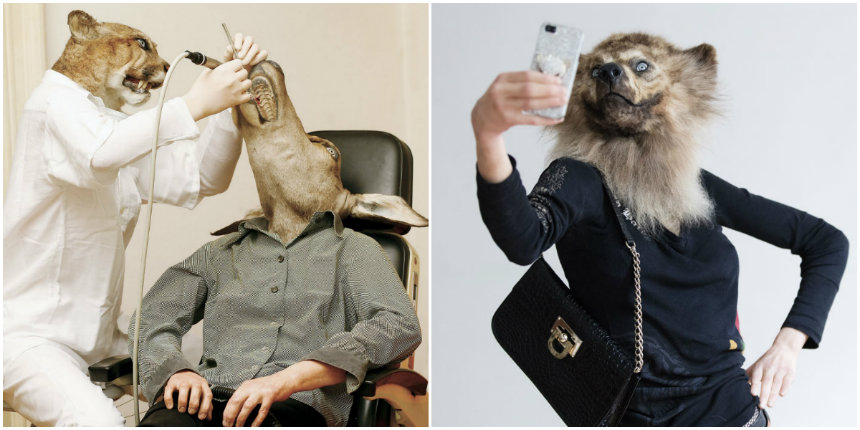 Unsettling 'Island of Dr. Moreau'-ish  human / animal hybrid sculptures by Deborah Sengl
