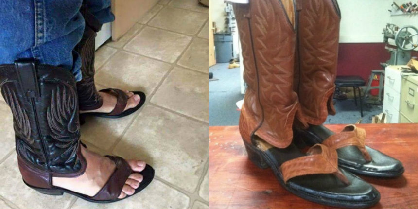 The worst f*cking shoes on the planet: Cowboy sandal boots