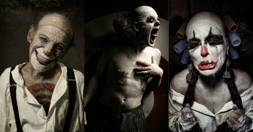 Demented clown portraits by Elo Perfido