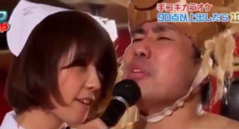 Japanese game show where the contestants get hand jobs while singing karaoke (NSFW)