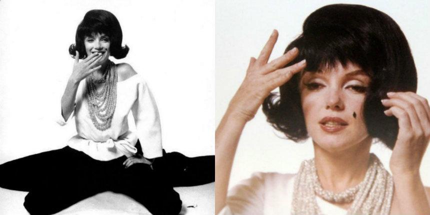 Marilyn Monroe in a black wig, imitating Jackie Kennedy (1962)
