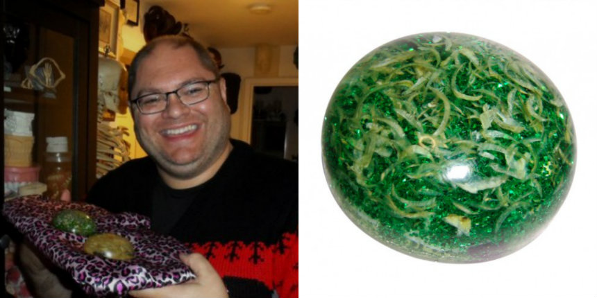 Man turns his decades-worth of fingernail clippings into paperweights