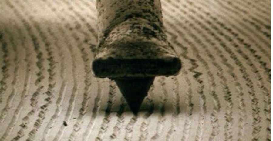 Vinyl and stylus at 1000x magnification