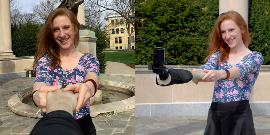 Forever alone: Pretend you have a friend with the Selfie Arm!