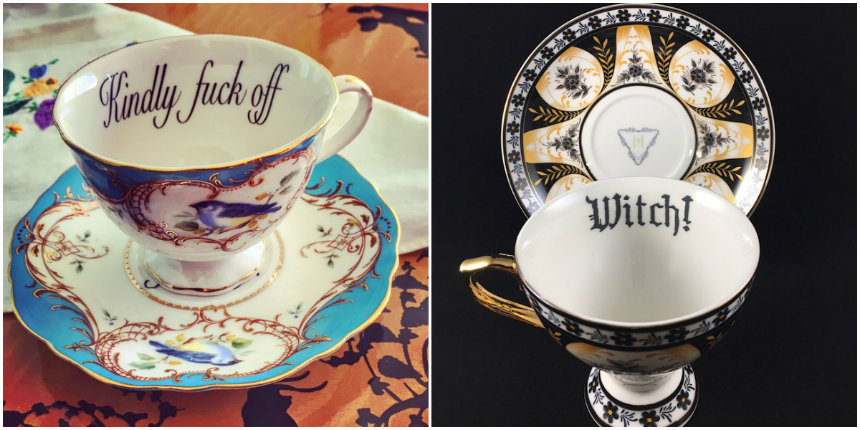Dainty insult teacups and saucers 'For the lady who speaks her mind…'