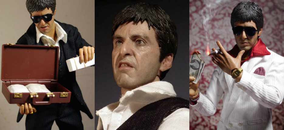 Terrifyingly life-like Tony Montana figure, cocaine and gun included