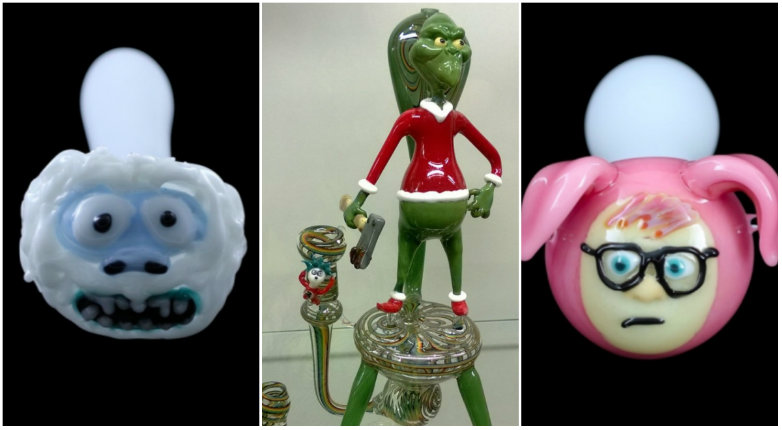 Get stoned with Santa and the Grinch! Awesome Christmas-themed bongs and pipes