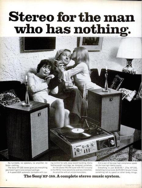 Sony HP-188 stereo ad, 1970s