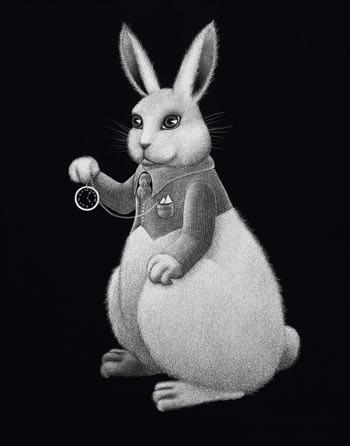 slick white rabbit