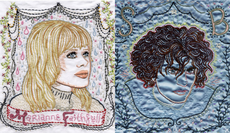 Handsewn images of Patti Smith, Marianne Faithfull, Nico, Syd Barrett and more