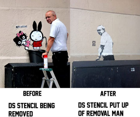 Street artist puts up street art, removal man then becomes the street art piece