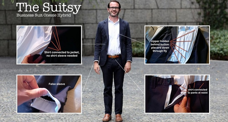 Dear God. Some rich guy is trying to produce a suit/onesie hybrid called 'The Suitsy'