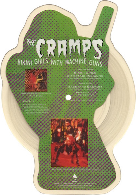 The Cramps Bikini Girls With Machine Guns shaped vinyl record - Side B view