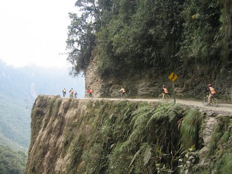 Bikers traveling the Death Road in Bolivia