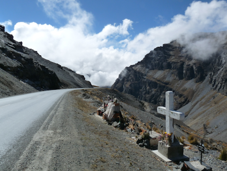 Grim markers along the Death Road in Bolivia