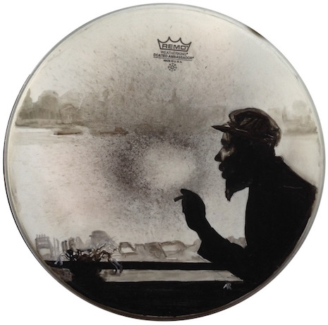 Thelonious Monk drum skin art by Nicole Di Nardo