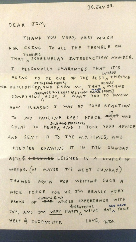 Wes Anderson letter