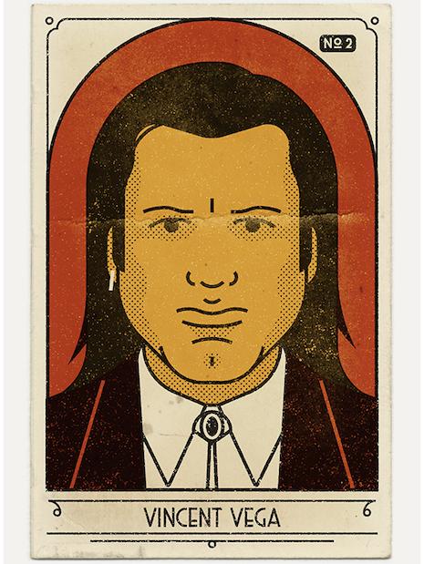 Vintage look portrait of Vincent Vega from Pulp Fiction