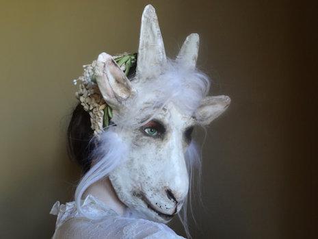 Wedding guest goat mask by Krista Argale