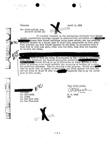 Orson Welles, FBI file