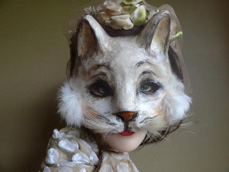 White Cat mask by Panda Bear mask