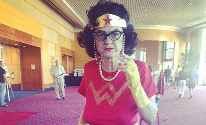 Senior citizen Wonder Woman cosplay