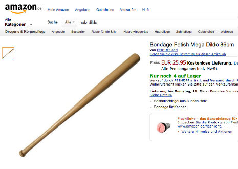 Amazon sells baseball bats as plus-sized sex toys in Germany
