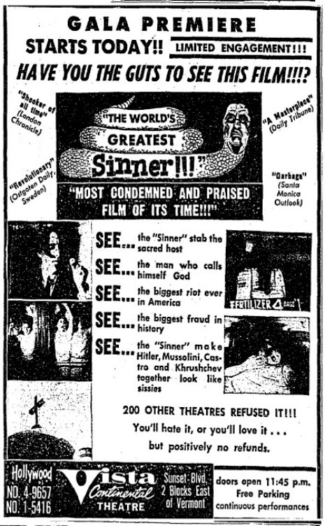 Tonight in Austin: A rare 35mm screening of 'The World's Greatest Sinner'