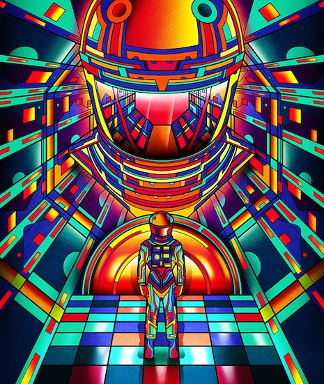 2001: A Space Odyssey neon movie poster by Van Orton Design