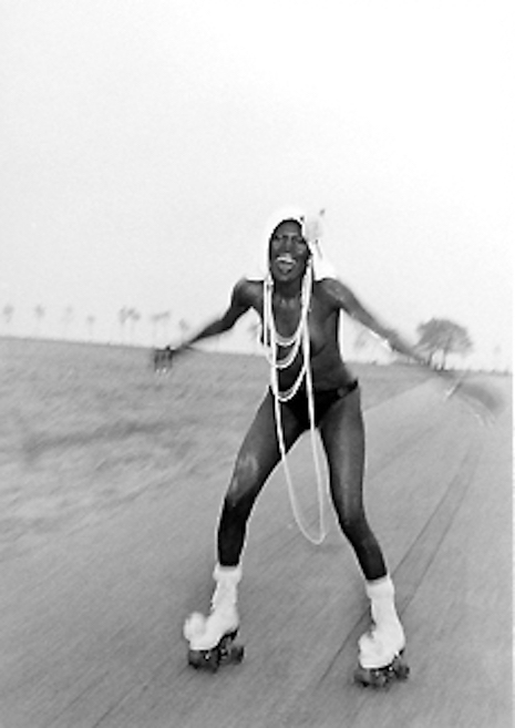 Grace Jones roller skating at Compo Beach, 1973