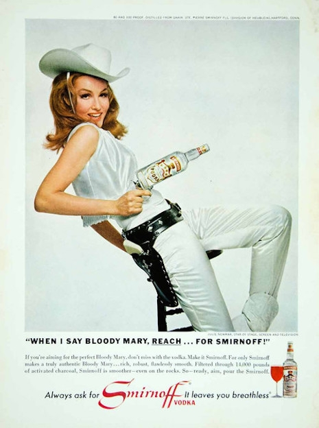 Julie Newmar in an ad for Smirnoff Vodka, 1966