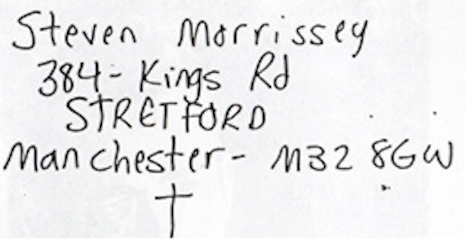 The home address of a teenage Morrissey