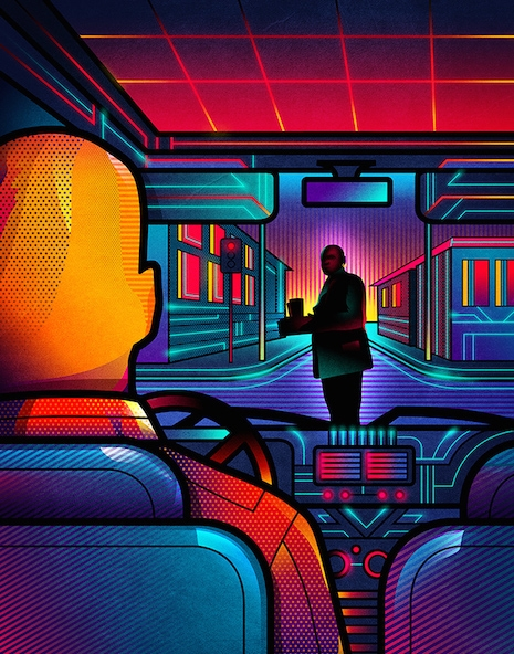 Pulp Fiction neon movie poster by Van Orton Design